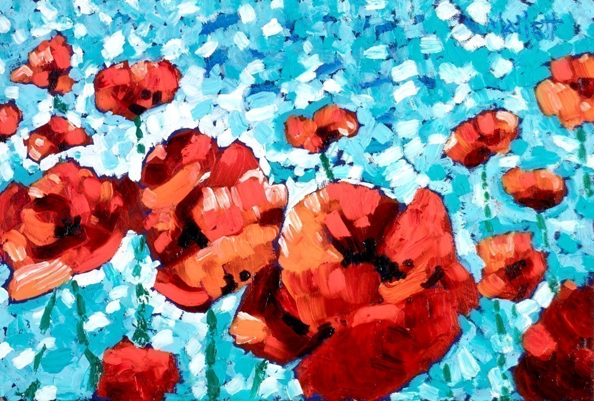 Giant Poppies By The Pool by Timmy Mallett -  sized 12x8 inches. Available from Whitewall Galleries